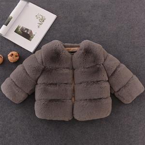 Brasão elegante Brasão bebé de peles artificiais jaquetas e casacos quentes de espessura Parka crianças Casacos Roupa para meninas Design de Moda de Nova inverno meninas Fur