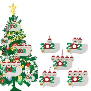 Christmas Ornament 2020 Quarantine Party Gift Personalized Family Of 1 2 3 4 5 PVC Xmas Tree Pendant Xmas Decorations CCA12567 100pcs