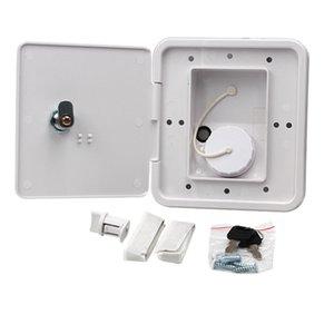 151X166 mm RV Hatch cobrir Acessórios bloqueável Entrada de Água Parts com chaves Praça Threaded Dish Fill para RV Trailer (Branco)