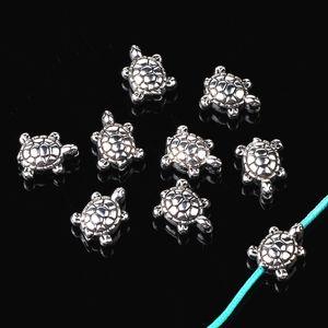 200pcs / lot Weinlese tibetanische silberne Legierung Tier 9mm Meeresschildkröte Spacer Perlen für Armband-Halskette Diy Schmuck Makings
