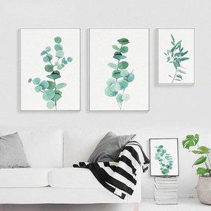 Акварель Eucalyptus Green Plant Wall Art Холст Плакат Nordic Стиль печати Картина Современный Минималистский Изображение Home Decor MhmT #