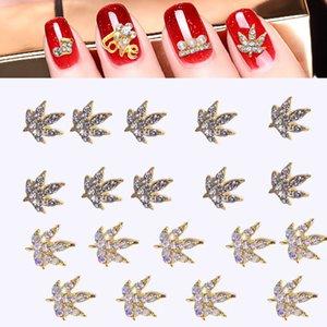 AB Clear 10pcs Nail Strass Charm 3D Nail Art Alloy Rhinestones 4 Rhinestone Leaf Charms   Beauties For Art Gems