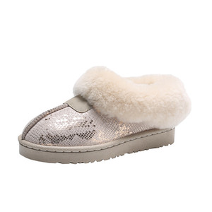 One-step snow boots women's 2020 new fur and velvet warm cotton shoes all-match short boots