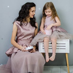 2020 Latest Arrival Dusty Rose Mother Daughter Dresses Jewel A Line Tulle Flower Girls Dresses Fit and Flare Affordable