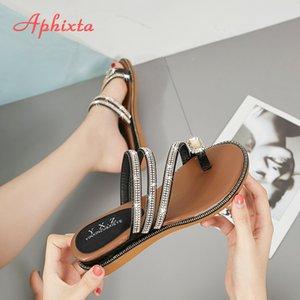 Aphixta Wedges Sandalen Frauen Strass weiblichen Flip Flops Sommer Modis Leder Kristall Slippers Damen Babouche Bling Schuhe Y200620