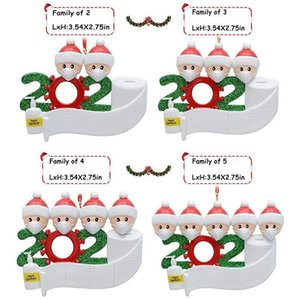 Santa Claus Christmas Decoration Birthdays Gift Personalized Hanging Ornament With Face Masks Santa Claus Family Snowman OWD1933