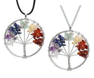 Tree Of Life Кварцевый ожерелье Радуга 7 Чакра Multicolor Природный камень мудрости Дерево Кожа цепи ожерелье для девочек подарков DHL бесплатно