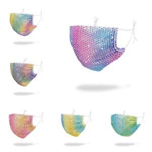 Moda mascarilla de gradiente de colores diamante impresión 3D máscaras a prueba de polvo mascarillas anti-niebla reutilizable lavable de protección diseñador de la máscara