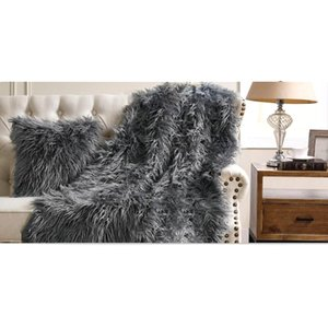 Grey Beige plush Blanket Light brown rabbit Beige rabbit fur blanket