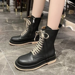 SHOFORT Black Boots 2020 Fashion Mid Tube Motorcycle Boots Handsome All-match Lace-up Side Zipper Heighten Shoes Woman