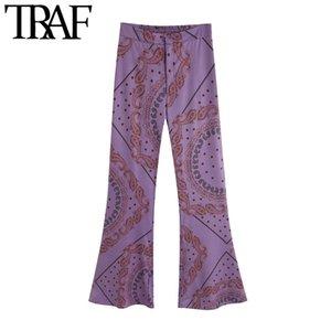 TRAF Kadınlar Chic Moda Baskılı Flared Pantolon Vintage Geri Elastik Cepler Fermuar Kadın Ayak Bileği Pantolon Mujer