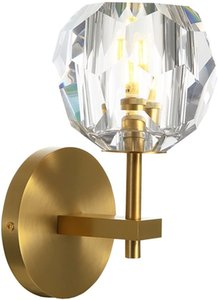 Crystal Wall Sconces Lighting Gold Ball Shade Bedside Lamp Flush Mount for Indoor Loft Hallway Living Room