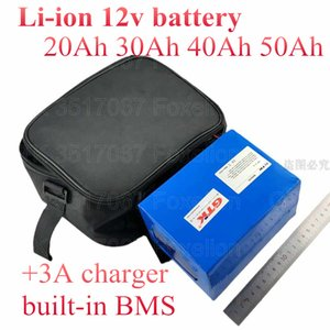 12V 50Ah 20Ah lithium ion 40Ah 12v 30Ah li battery for golf trolly cart scooter Portable power supply + 3A charger+ bag