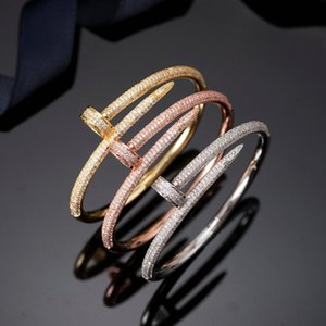 Fashion Nail Bracelets Women 18k Gold Plated Love Bangle Bracelet Full Diamond Bracelet Jewelry For Lover