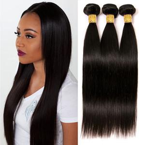 "2020 Straight Brazilian Virgin Hair Weave Bundles With Closure Human Hair Bundle Extension Raw Hair Products 10""-26"""