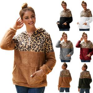 Donne Sherpa magliette felpate Designer Autunno Inverno Patchwork Leopard Furry con cappuccio su due lati della peluche Felpa con cappuccio camicetta Tops E82002