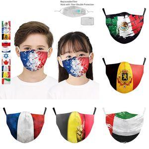 impressão digital 3D do Padrão bandeira nacional face forma Crianças máscara de poeira máscara protetora ajustável com máscaras PM2.5 grife filtro