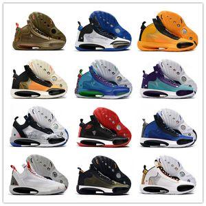 Hot 2020 Jumpman 34 XXXIV Blanc Noir Orange Blue Moon 66 Couleurs de basket-ball Chaussures 34s Vert Violet Noir Cat Platinum Hommes Sports Chaussures