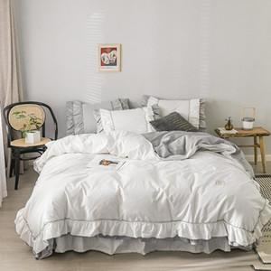 100% algodão xadrez plissado cama ajustado Branco multi camadas Ruffles Meninas Duvet Set cama capa 4pcs Rainha King Size saia Fronhas
