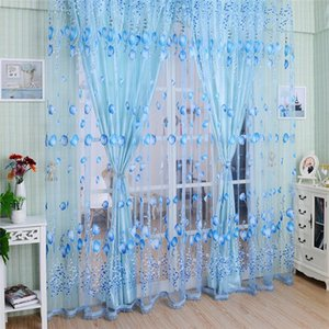2020 Creative Window Curtains Sheer Voile Tulle for Bedroom Room Balcony Kitchen Printed Tulip Pattern Sun-shading Curtain CM .N