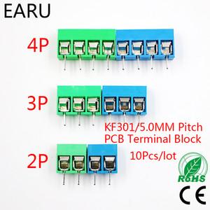 10pcs / lot KF301-5.0-2P KF301-3P KF301-4P Pas 5.0mm Épingle 2P 3P 4P vis Bornier PCB connecteur bleu vert
