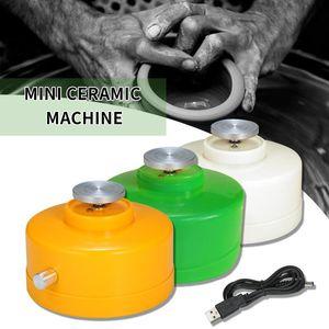 Girando la rueda de la cerámica eléctrico de bricolaje de cerámica de la placa giratoria de la yema del dedo Mini Rueda de la cerámica de arcilla que hace la herramienta Kit