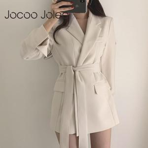 Jocoo Jolee donne coreane elegante vestito dell'ufficio Blazer merletto delle signore fino dentellati formali inverno outwear giacche casual Mid Top Coat