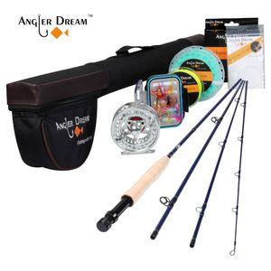 Angler sogno Pesca Combo 3wt fibra di carbonio con alluminio bobina peso in avanti Floating Fly Line Kit Rod Tubo