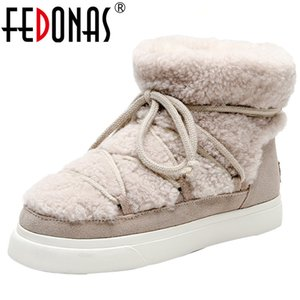 FEDONAS Sweet Women Wool Cow Suede Ankle Boots Female Big Size Snow Boots Dancing Casual Shoes Woman Newest Flats Platform Boots 200916