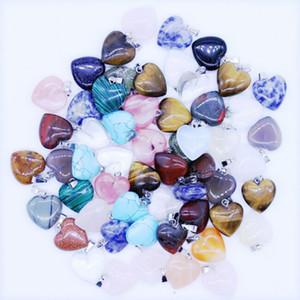 Fantastisches Herz natürliche Steinedelstein-Anhänger Hoch Polier-lose Korn-Silber überzogener Haken passende Armbänder und Halsketten-Misch