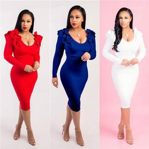 Arrival Solid Color Women Designer Dress Long Sleeve Scoop Neck Ladies Dress Spring Autumn Dresses New