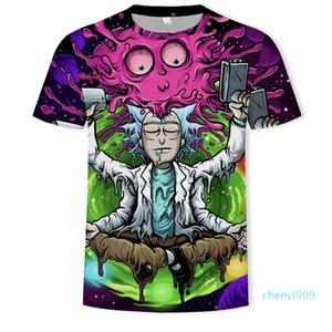 Rick e Morty Printed Shirts Mens Stylist 3D Camiseta Verão engraçado Anime Tops Mens manga curta c09