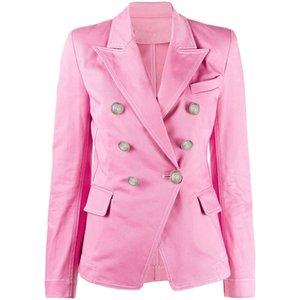 En Yeni 2020 İlkbahar Sonbahar Tasarımcı Blazer Ceket Denim Kadın Klasik Çift Breasted Aslan Düğmeler Üst Denim Blazer AS1990