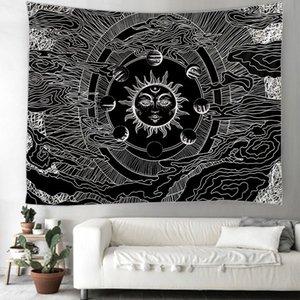 Manta de la luna de Sun tapiz indio Mandala Hippie Macrame Tapiz colgante de pared de la decoración de Boho Psychedelic Brujería Tapiz