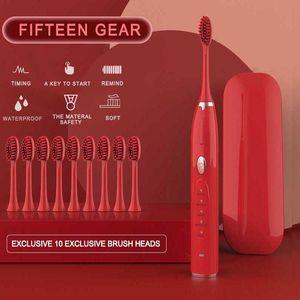 Sonic cepillo de dientes eléctrico con 10 cabezas de cepillo de repuesto cepillo de dientes ultrasónico electrónico recargable de calidad superior del chip inteligente