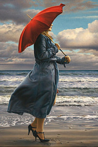 BEACH ARTworks Red Umbrella by Paul Kelley Romance Seascape Painting Home Decoration Oil Paintings On Canvas Wall Art Pictures 200903