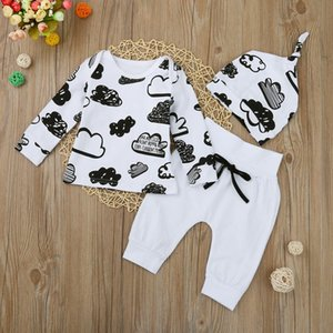 3 pcs Newborn Infant Baby Girl Boy T Shirt Tops+Pants Outfits Clothes Set Print Hat and pants Cloud sets 827 Deals