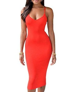 Ninimour Women's Backless Spaghetti Strap Bodycon Package Hip Dress