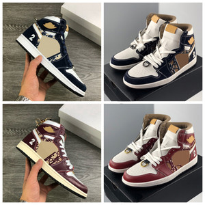New Red Wine Navy Blue 1 High Basketball Shoes Designer Dunk SB Low Running Shoes Mens Trainers Women Sports Sneakers Size 36-46
