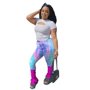 Stacked Pants Womens Summer New Fashion Casual Designer Stacked Jogger Pants Slim Long Middle Waist Stacked Sweatpants Tie Dye Colorful