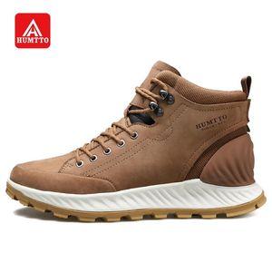 HUMTTO High Cut-Walking-Schuhe beiläufige Aufladungen der Männer echtes Leder Wasserabweisend Endlagendämpfung Outdoor Fashion Sneakers