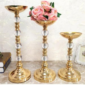 Metal Crystal Flower Stand Wedding Candle Holder Candelabra Centerpiece Decoration Ceremony Christmas Decor