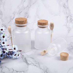 Frosted Plastic Kosmetische Flaschenbehälter mit Korkkappe und Löffel Bad Salzmaske Pulver Creme Packung Flaschen Makeup Lagerung Gläser DWA2648