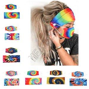 Bandeau Masque 2Pcs / Set porte-masque visage Bandeaux avec le bouton Hairband concepteurs 3D Spiral Tie Dye Masques Masques élastiques tête Bandes D81808