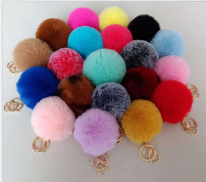 8cm Rabbit Fur Ball Keychain Soft Fur Ball Lovely Gold Metal Key Chains Ball Pom Poms Plush Keychain Car Keyring Bag Earrings ps2224