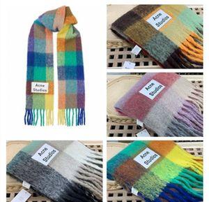 Marke Acne Studios hochwertigen 4-Farben-Wollschal neue Regenbogen Gitter Fransentuch für Männer und Frauen