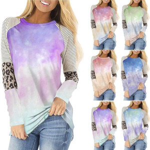 Autumn 2020 New Tie Dye T Shirts Women O Neck Long Sleeve Leopard Striped T-Shirt Women Gradient Contrast Top Tees Streetwear BY1576