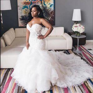 Marfil Tamaño de la vendimia 2021 de la trompeta de la sirena de la boda vestidos de novia de la blusa del cordón del cuello del amor ata para arriba el vestido de novia Plus Robe de mariée