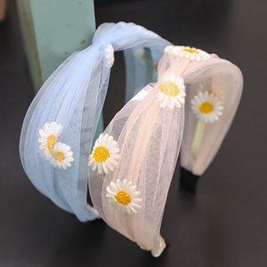 2020 Fashion Mesh Lace Cross Bandeaux Bandeau Turban Pour les femmes Large Hoop cheveux Daisy Imprimer Bezel Hair Bands Accessoires