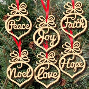 Navidad de madera Bombilla colgante Decoración hueco pequeño copo de nieve del caballo mecedora ángel de la estrella del amor del árbol árbol de Navidad 6pcs / lot D83105